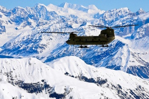 Helo Over Mountains